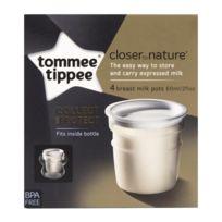 Tommee Tippee - Lot de 4 pots de conservation de lait