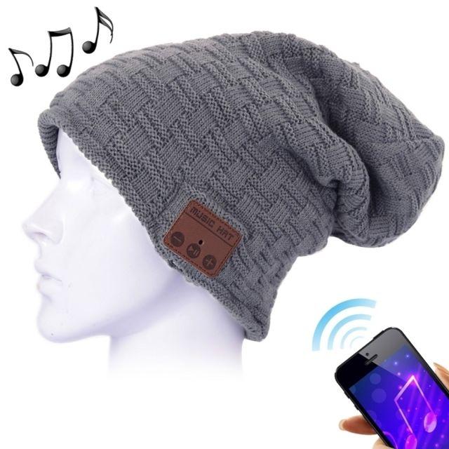 Wewoo - Bonnet Connecté gris pour garçon et fille adultes foncé texturé  tricoté casque Bluetooth chaud d6860d94f09