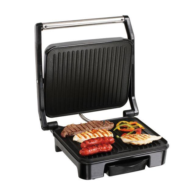 Domoclip Gril viande et panini avec 2 plaques rainurées avec revêtement antiadhésif 2000W