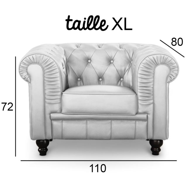 MENZZO Grand fauteuil Chesterfield Argent