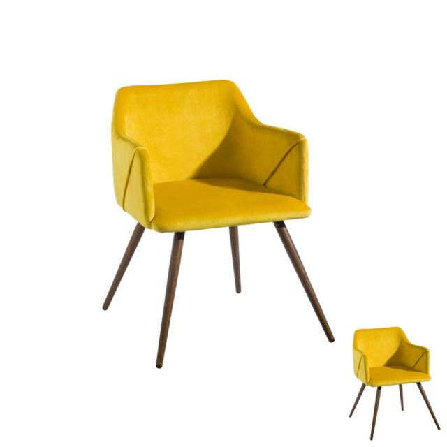 Tousmesmeubles Duo de fauteuils velours Jaune - Dona