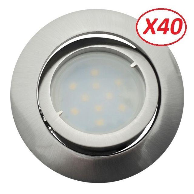 Lampesecoenergie Lot de 40 Spot Led Encastrable Complete Satin Orientable lumière Blanc Neutre eq. 50W ref.895