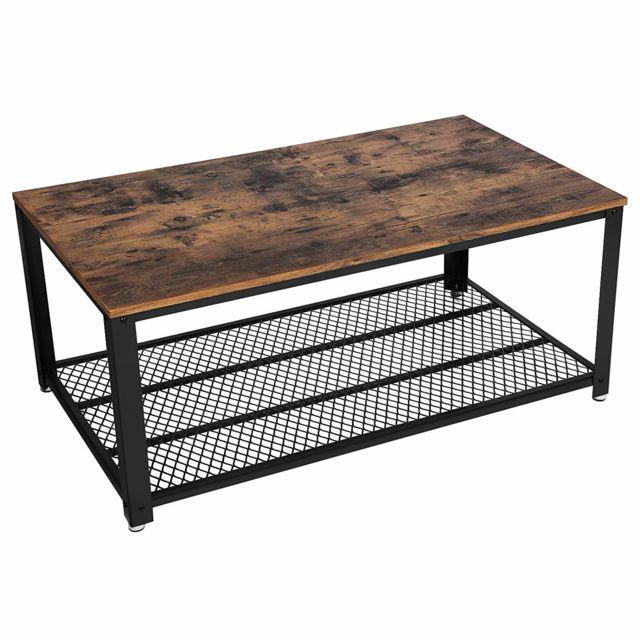 Vasagle Table Basse Vintage, Table de Salon, Bout de canapé, avec Grand Plateau, Armature métallique Rigide, Montage Facile, Asp