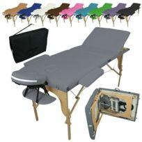 VIVEZEN - Table de massage pliante 3 zones en bois avec panneau Reiki + Accessoires et housse de transport