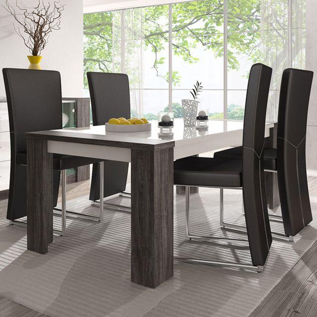 Nouvomeuble Table 180 cm blanc laqué et couleur chêne gris moderne Lilou