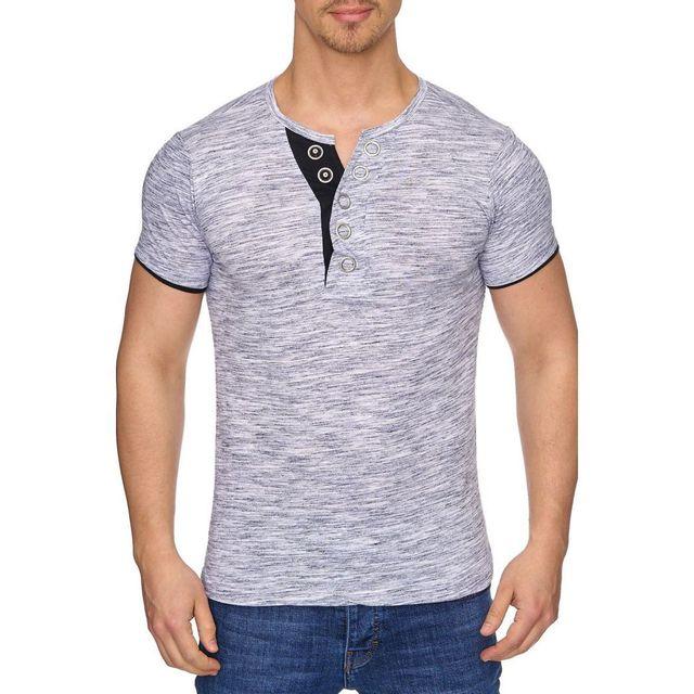 9c76c6e0901 Tazzio - Tee shirt col V bouton gris - pas cher Achat   Vente Tee shirt  homme - RueDuCommerce