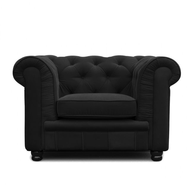 Meubler Design Fauteuil 1 place design Chesterfield noir velours