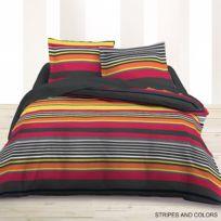 Les Douces Nuits de Maé - Parure de lit 4 pièces Flanelle imprimée Stripes & Colors