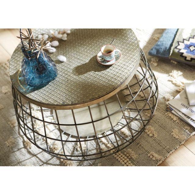Amadeus Table basse ronde métal et bois