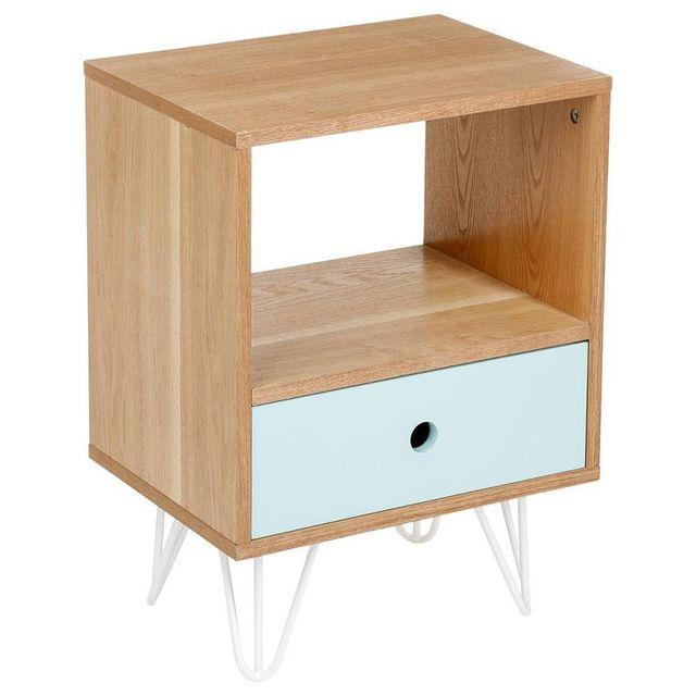 Atmosphera - Table de chevet Shulg 1 tiroir bleu