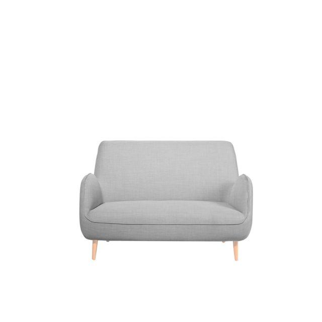 BELIANI Canapé 2 places en tissu gris clair KOUKI - gris clair
