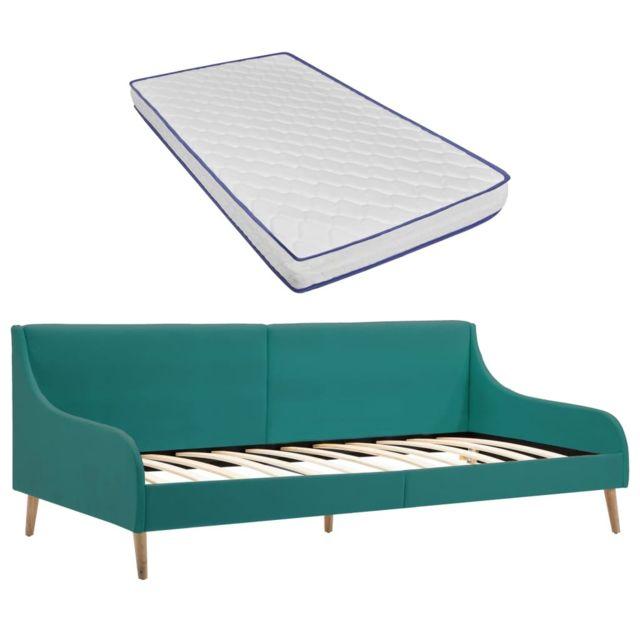 Vidaxl Cadre de lit de jour avec matelas en mousse Vert Tissu