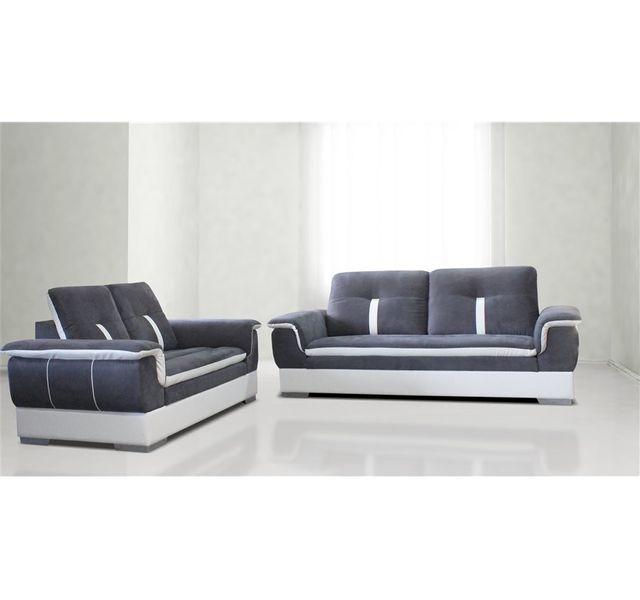 CHLOE DESIGN Canapé 3+2 design MARION - gris et blanc