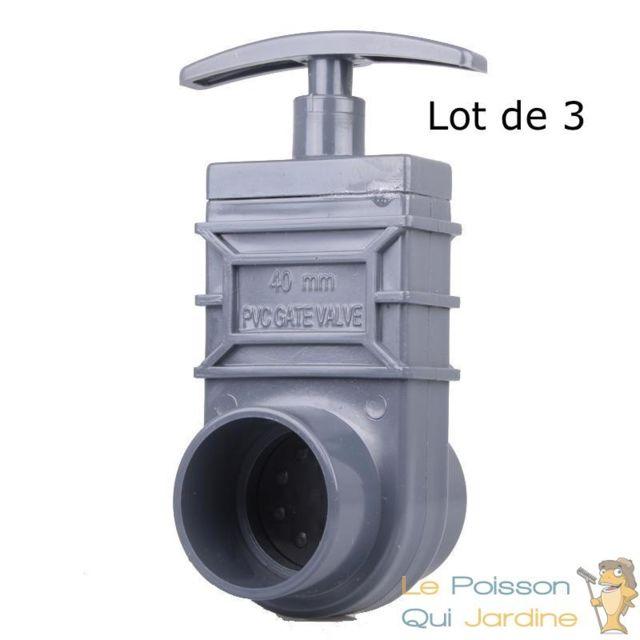 Le Poisson Qui Jardine Lot de 3 vannes guillotines Pvc 40 mm pour bassin de jardin et étang