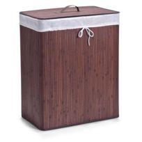Zeller Present - Zeller Panier à linge à 2 compartiments bambou brun. 52 x 32 x 63 cm