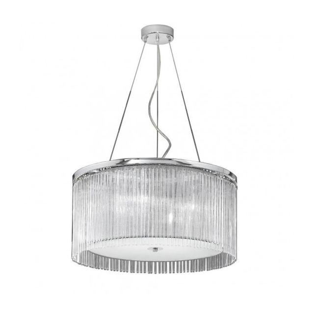 Luminaire Center Suspension chromée Eros 4 Ampoules Diamètre 60 Cm
