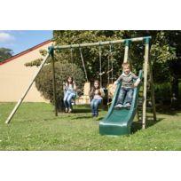Jardin Express - Portique en bois toboggan + 2 balançoires + 1 échelle