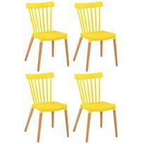 Lot De 4 Chaises Barreaux Design Scandinave Iconic Jaune Mat Pitement Chne Clair