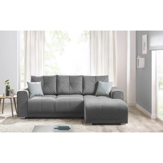 BOBOCHIC LISBONA - Canapé d'angle gauche gris clair