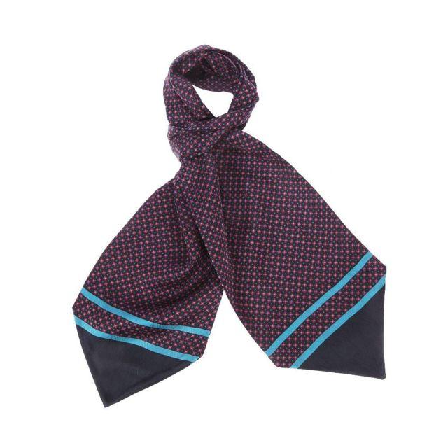 8b28987cb58 Touche Finale - Foulard Ascot à nouer en soie bleu marine à motifs carrés  rouges et points bleus - pas cher Achat   Vente Echarpes