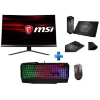 "MSI - 24"" LED MAG241C + Clavier Mécanique Vigor GK40 + Souris GM10 RED LED + Tapis de souris Gaming Shield"