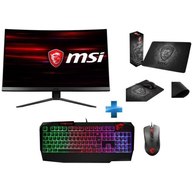 "MSI - 24"" LED MAG241C + Clavier Mécanique MSI Vigor GK40 + Souris MSI GM10 RED LED + Tapis de souris MSI Gaming Shield"
