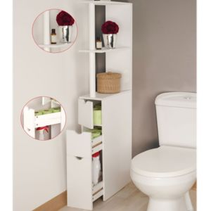 idmarket meuble wc tag re bois gain de place pour toilettes 3 portes blanc 136cm x 15cm x. Black Bedroom Furniture Sets. Home Design Ideas