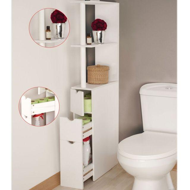 IDMARKET - Meuble WC étagère bois gain de place pour toilettes 3 ...