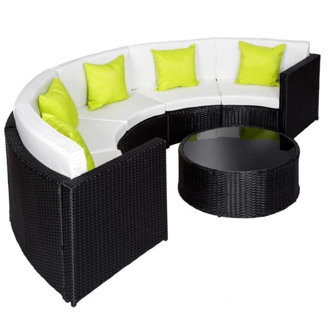 27f46e469864d Autre Salon de jardin rotin résine tressé synthétique rond noir 6 pièces  2108029