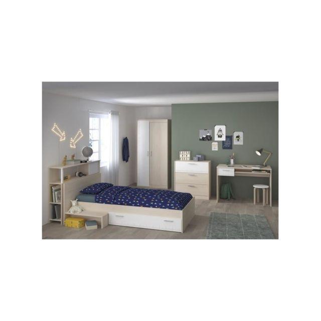 CHARLEMAGNE Chambre enfant complete - Tete de lit + lit + commode + armoire + bureau - contemporain - Décor acacia clair