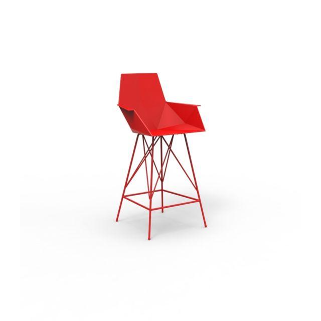 Vondom Tabouret de bar avec accoudoirs Faz - Hauteur 102 cm - rouge