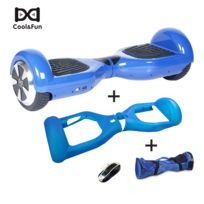 COOL AND FUN - COOL&FUN Hoverboard, Scooter électrique Auto-équilibrage,gyropode 6,5 pouces Bleu + Housse de Protection Bleue + Sac de transport