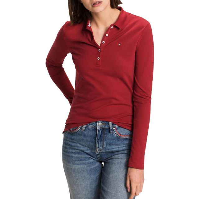 Tommy hilfiger - Polo manches longues - pas cher Achat   Vente Polo femme -  RueDuCommerce dd5cafb05b50