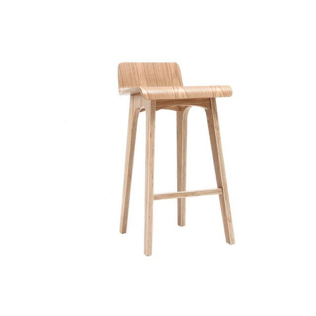 miliboo chaise de bar scandinave bois naturel 65 cm. Black Bedroom Furniture Sets. Home Design Ideas