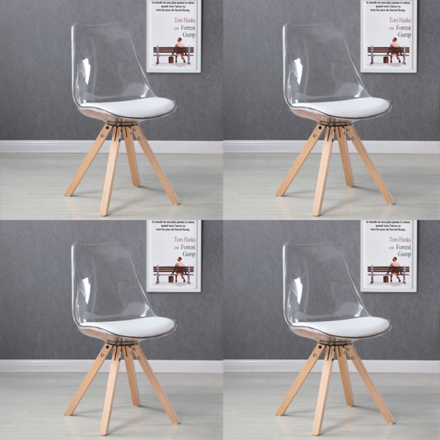 4 Lot scandinaves de chaises Helsinki transparentes mNPy8nw0vO