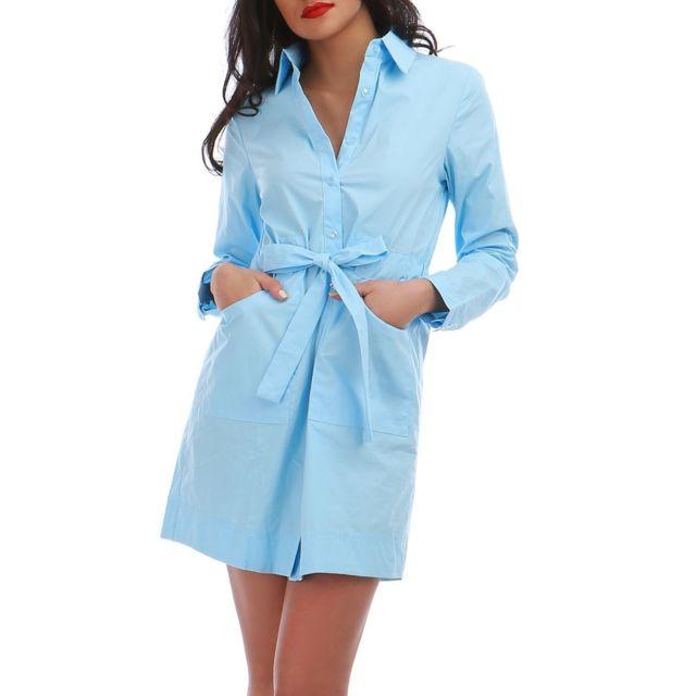 Lamodeuse - Robe chemise turquoise avec ceinture - pas cher Achat   Vente  Robes - RueDuCommerce c85903de09a