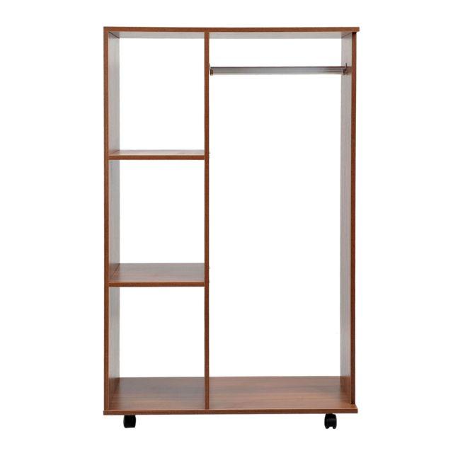 homcom armoire penderie v tements sur roulettes 3 tag res marron 10cm x 10cm x 10cm pas. Black Bedroom Furniture Sets. Home Design Ideas