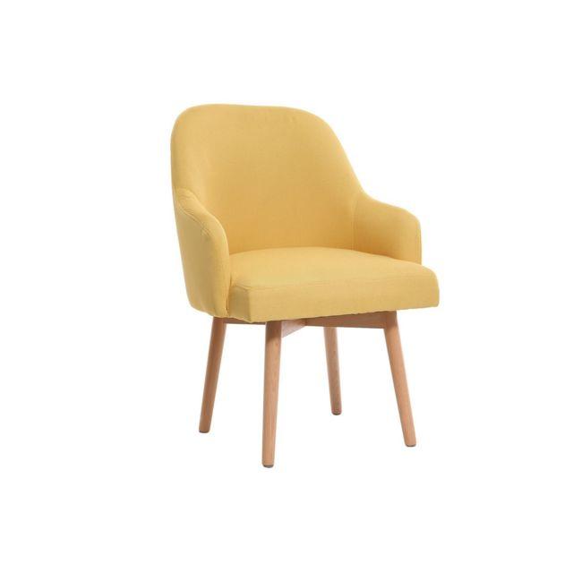 Miliboo - Fauteuil design jaune pieds bois clair Mona