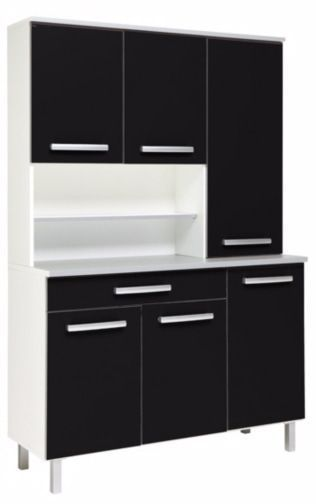 comforium buffet de cuisine moderne 100 cm coloris noir et blanc pas cher achat vente. Black Bedroom Furniture Sets. Home Design Ideas