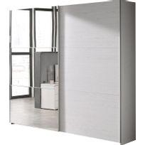 COMFORIUM   Armoire 200x216 Cm à 2 Portes Coulissantes Dont 1 Avec Miroir  Coloris Chêne