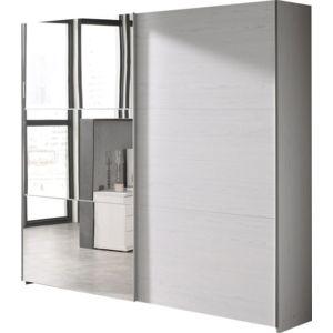 comforium armoire 200x216 cm 2 portes coulissantes dont 1 avec miroir coloris chne beige