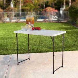 Lifetime   Table De Jardin En Résine Pliante 122x61cm Réglable En Hauteur  Baldy