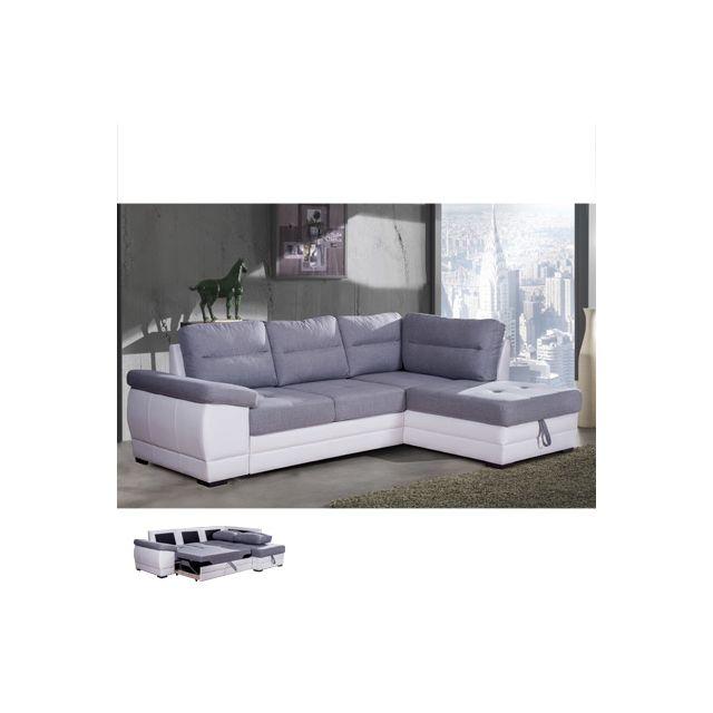 Canapé d'angle convertible à droite gris et Pvc blanc Wesley