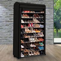 IDMARKET - Etagère range chaussures 50 paires ECO avec sa housse noire