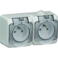 Schneider Electric - Double prise de courant 2P+T Cedar 230 V gris Ip44