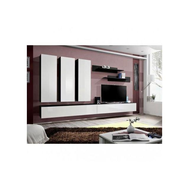 Price Factory - Meuble Tv Fly E1 design, coloris noir et blanc ...