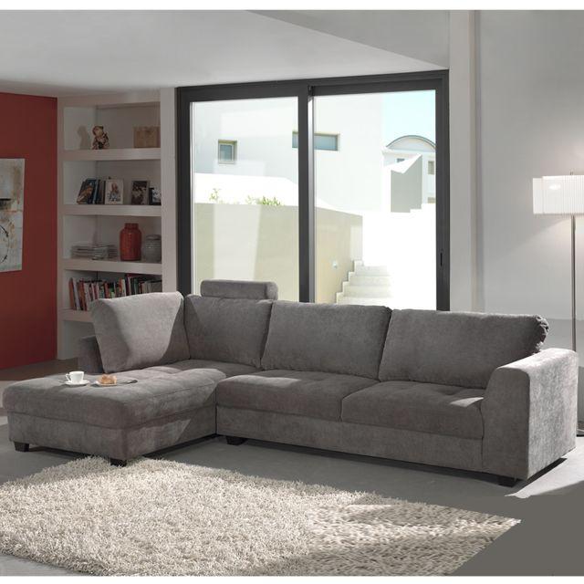 SOFAMOBILI Canapé d'angle gris en tissu ALTA