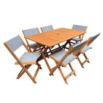 Salon de jardin repas Séoul - 1 Table + 6 chaises - Maple - Gris