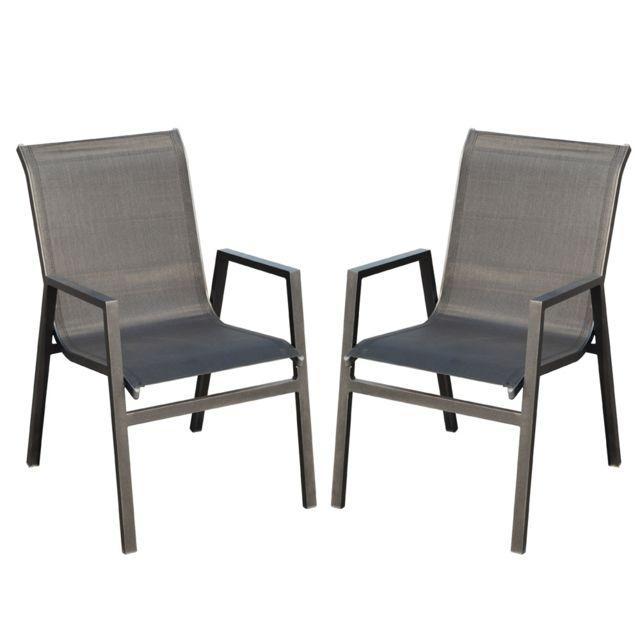 Chaise de jardin en aluminium Vegas - Lot de 2