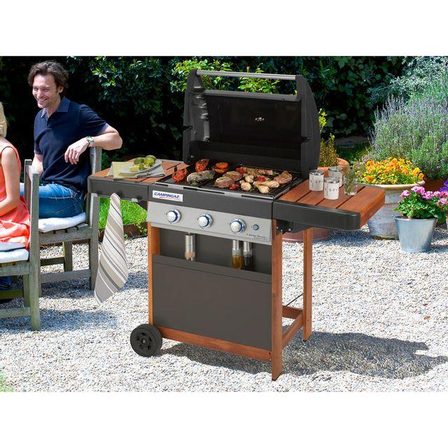 Barbecue à Gaz 3 Brûleurs 61x46cm Grilplancha Chariot Bois 3 Series Woody Ld